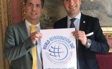 Sindaco di Casale Riboldi e Presidente AREA Buoni logo Giornata Mondiale della Refrigerazione